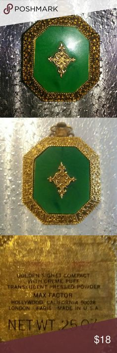 Vintage Max Factor Deep Green & Gold Compact Lovely deep green and gold compact pendant by Max Factor. This vintage piece is in excellent condition, powder and puff never used. Max Factor Jewelry Necklaces