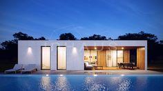 Casa modular de hormigón modelo Chipiona 3D 1P 2.118 - inHAUS