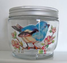 decorate  the inside of a glass jar with paper/photos/fabric.