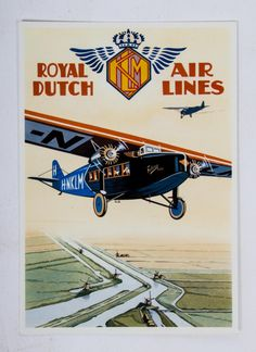 Royal Dutch Air Lines Vintage Travel Posters, Vintage Ads, Sheet Music Art, Aviation Art, Civil Aviation, Art Deco Posters, Vintage Airplanes, Vintage Graphic Design, Poster Ads