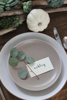 A simple rustic Thanksgiving table setting using eucalyptus and simple off white place cards on neutral plates.
