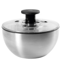 OXO Salad Spinner: The one with the patented pump and break, this version is in stainless steel. $49.99 (The clear plastic version works just as well and costs twenty dollars less!) #Salad_Spinner #OXO