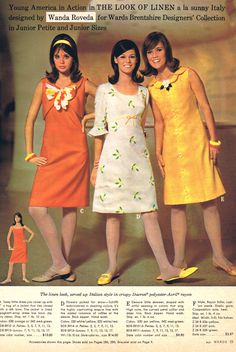 Wanda Roveda for Montgomery Ward - 1966 60s shift dress white floral orange yellow color photo print ad models magazine catalogue