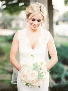 Texas bride in a Casa De Novia lace wedding dress. See more on SMP: http://www.StyleMePretty.com/2014/05/27/romantic-houston-backyard-wedding/ Photography: Taylor Lord taylorlordphotography.com