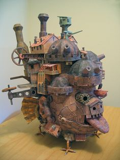 "Howl's Moving Castle papercraft  ""I've spent 72 hours over the last three weeks building this papercraft of Howl's Moving Castle."" -Ben Millett"