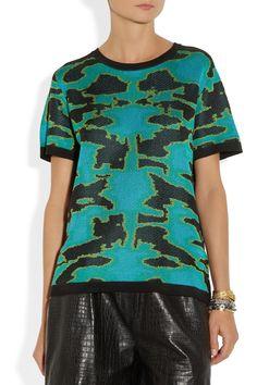 Proenza Schouler|Knitted silk-jacquard sweater|NET-A-PORTER.COM