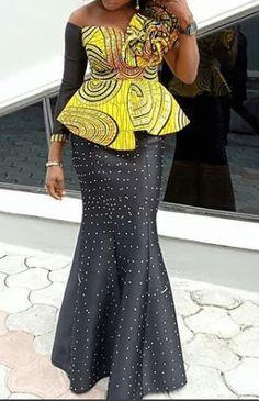 ankara skirt and blouse styles 2 Diyanu Fashion Latest African Fashion Dresses, African Dresses For Women, African Print Fashion, African Attire, African Prints, Ankara Skirt And Blouse, Ankara Dress Styles, Blouse Styles, Latest Ankara Styles