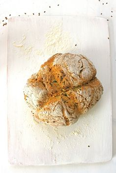 Wild Garlic + Flax Seed Soda Bread @FoodBlogs