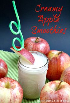 Butter With a Side of Bread: Creamy Apple Smoothies Apple Smoothies, Healthy Smoothies, Healthy Drinks, Green Smoothies, Easy Family Meals, Family Recipes, Weight Watcher Smoothies, Non Alcoholic Drinks, Cocktails