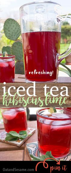 Hibiscus Lime Iced Tea - a refreshing and tangy iced tea to enjoy this summer! - Recipe at OatandSesame.com