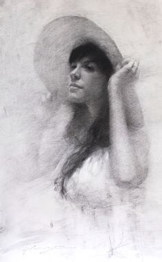 "HSIN-YAO TSENG Fine Art - Drawings: KP with Summer Hat, Charcoal on Paper, 17""x10.5""  2012"