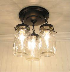 Vintage Mason Jar CEILING LIGHT, via Etsy.