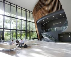 Royal Welsh College of Music & Drama - foyer Roof Architecture, School Architecture, Architecture Awards, Commercial Design, Commercial Interiors, Royal Welsh, Interior Design Colleges, Lobby Interior, Lobby Design