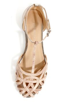 Wild Diva Lounge Starla 140A Beige and Gold Snake Cage Flats - $25.00