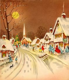Shop Vintage Christmas Winter Snow Town Tile created by ShepherdsGifts. Vintage Christmas Images, Old Christmas, Old Fashioned Christmas, Christmas Scenes, Retro Christmas, Vintage Holiday, Christmas Pictures, Christmas Greetings, Christmas Holidays
