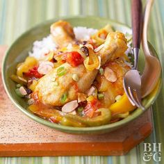 With curry, sweet peppers, golden raisins, and rice, there's balance in every delicious bite of this chicken dish. Bonus: This slow-cooked chicken dinner is less than 300 calories per serving.