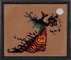 Mirabilia Designs Electra Bewitching Pixies Collection by Nora Corbett - Halloween Beaded Counted Cross Stitch Pattern Chart, Wichelt Imports Cross Stitch Love, Cross Stitch Kits, Counted Cross Stitch Patterns, Cross Stitch Designs, Cross Stitch Embroidery, Halloween Quilts, Halloween Cross Stitches, Halloween 9, Cross Stitching