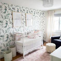 Project Nursery - Botanical Wallpaper in Girls Nursery Design: 2020 Nursery Trends: Botanicals