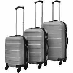 Silver Carry On Luggage Set Hardcase ABS Travel Kit Ergonomic Handle Trolley Cheap Luggage Sets, 3 Piece Luggage Set, Carry On Luggage, Travel Luggage, Eagle Creek, Suitcase Set, Silver Bags, Backpack Brands, Travel