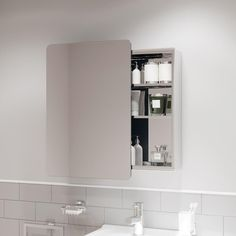 Bathroom Mirror Cabinet, Mirror Cabinets, Mirror Door, Mirror Unit, Neat And Tidy, Storage Compartments, Storage Shelves, Sliding Doors, Stainless Steel