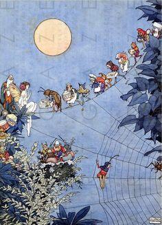 A FAIRY'S Birthday STUNNING Vintage Illustration. Art Deco Fairy Tale Print. Fairy Vintage Image Printable Digital Download.