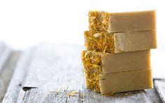 4 bars Chamomile & Calendula ORGANIC soap label by CaruSkincareCo