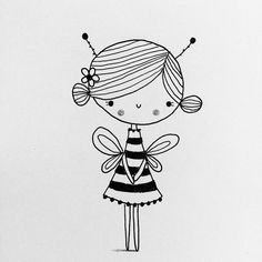 Bee happy. Cliche, I know. #The100DayProject #100daysofgirldoodles #bumblebeegirl #bee #doodle #girl #sketchbook Doodle Girl, Cute Doodle Art, Doodle Art Drawing, Cute Art, Cute Easy Drawings, Art Drawings For Kids, Cartoon Drawings, Happy Doodles, Cute Doodles