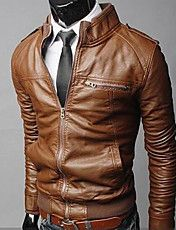 Men's Stand Collar Slim Motorcycle Jacket  – USD $ 64.99