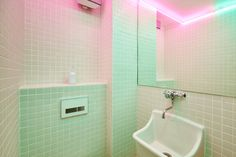 Pink & mint neon / fluroescent glow = bathroom delight - by Cut architects   Quirky Interior; Interior design; fitout; architecture; lighting design; restaurant; hospitality; 80's   MINTY WARES   VIA design42day.com - Paris New York burger restaurant - Design42Day Magazine