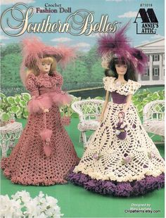 5 Designs! Annie's Attic Fashion doll Southern Belles crochet pattern, fits Barbie dolls. Dress designs by Mary Layfield, booklet 871018.