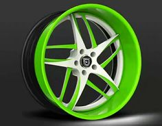 Custom - White and green finish. Rims For Cars, Rims And Tires, Pink Rims, White Rims, Honda Accord Accessories, Car Accessories, Tuning Motor, Rim And Tire Packages, Mercedes Wheels