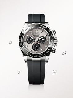 The Rolex Cosmograph Daytona in white gold, with a steel and black dial and Oysterflex bracelet.