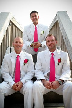 Pink groomsman for beach wedding in Destin Florida by Princess Wedding Co