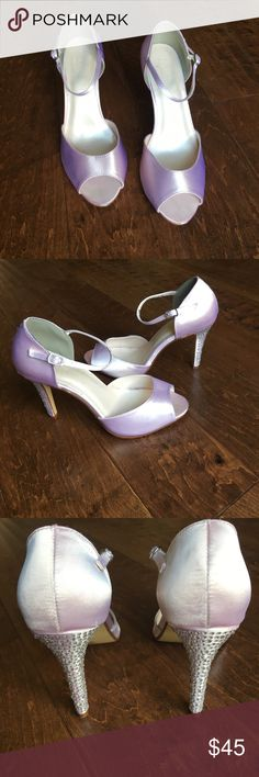 David's Bridal Giuliana crystal encrusted heels Dyeable Sandal with Crystal Encrusted Heel Dyed in the color: Blush. Gently used for ONE day only. David's Bridal Shoes Heels
