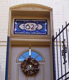 Traditional Yet Contemporary Stained Glass Window Transom with House Number