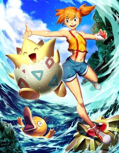 Togepi and Misty by GENZOMAN