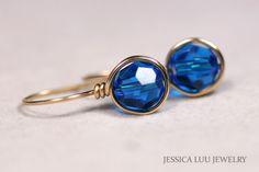Gold Blue Swarovski Crystal Earrings Wire by JessicaLuuJewelry