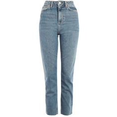MOTO Mid Blue Raw Hem Jeans (7.023 KWD) ❤ liked on Polyvore featuring jeans, topshop, blue jeans and raw hem jeans