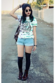 Graphic Tee + Cutoffs + Black Over The Knee Socks + Combat Boots