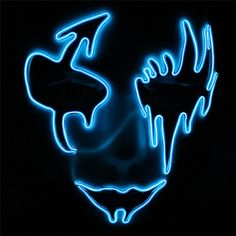 Escolourful Voice Control/LED Mask Half Face Frightening Flash Masks for/Halloween Party Mascaras Carnaval Christams