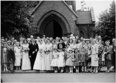 Late 1950s Bride with Bridesmaids and Full Church Wedding Group 1958