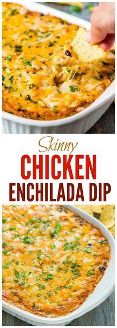 Skinny Chicken Enchilada Dip - EASY and CHEESY. A lighter version of the appetizer you know and love. Great recipe for tailgate food, football food, and game day parties. @wellplated