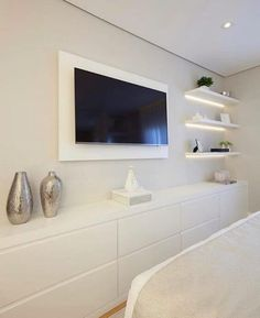 Home Decoration Ideas Images Bedroom Closet Design, Home Room Design, Small Room Bedroom, Master Bedroom Design, Home Decor Bedroom, Home Interior Design, Bedroom Tv, Bedroom With Tv, Living Room Tv Unit Designs