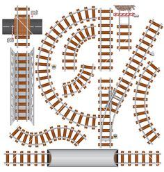 Railroad isolated elements for create your own railway siding. Detailed vector illustration include: train bridge, railroad signal, railway crossing, rail sections, junction.