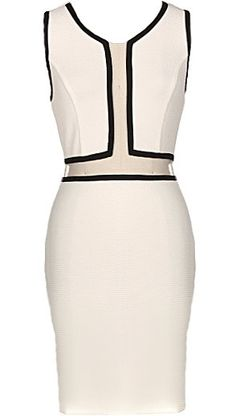 Open Hourglass Dress: Features bold black piping outlining cleverly cut white panels, perfectly placed mesh inset at front, hidden rear zip closure, and a beckoning body-conscious silhouette to finish.