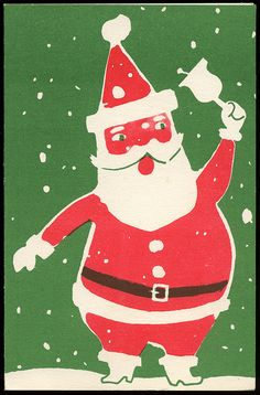 Yes Virginia, Alcoholics want Christmas cards too! (Santa Claus Christmas Card, 1950s)
