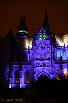 Gothic cathedral, blue uplighting,   Kosice, St. Elizabeth Cathedral