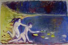Edvard Munch The Water Lillies 1892-93 28.5 x 44 cm Gouache on paper Not signed Private collection