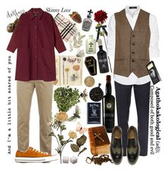 """""""The florist and the undertaker (Hiko and Samael)"""" by ugliboi ❤ liked on Polyvore featuring Burberry, Lacoste, Monki, Steffen Schraut, Topman, Converse, Paul Smith, D.L. & Co., Universal Lighting and Decor and Alkemie"""