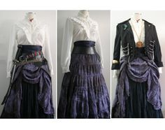 Complete Women's Pirate Costume in Purple / Black, Upcycled -